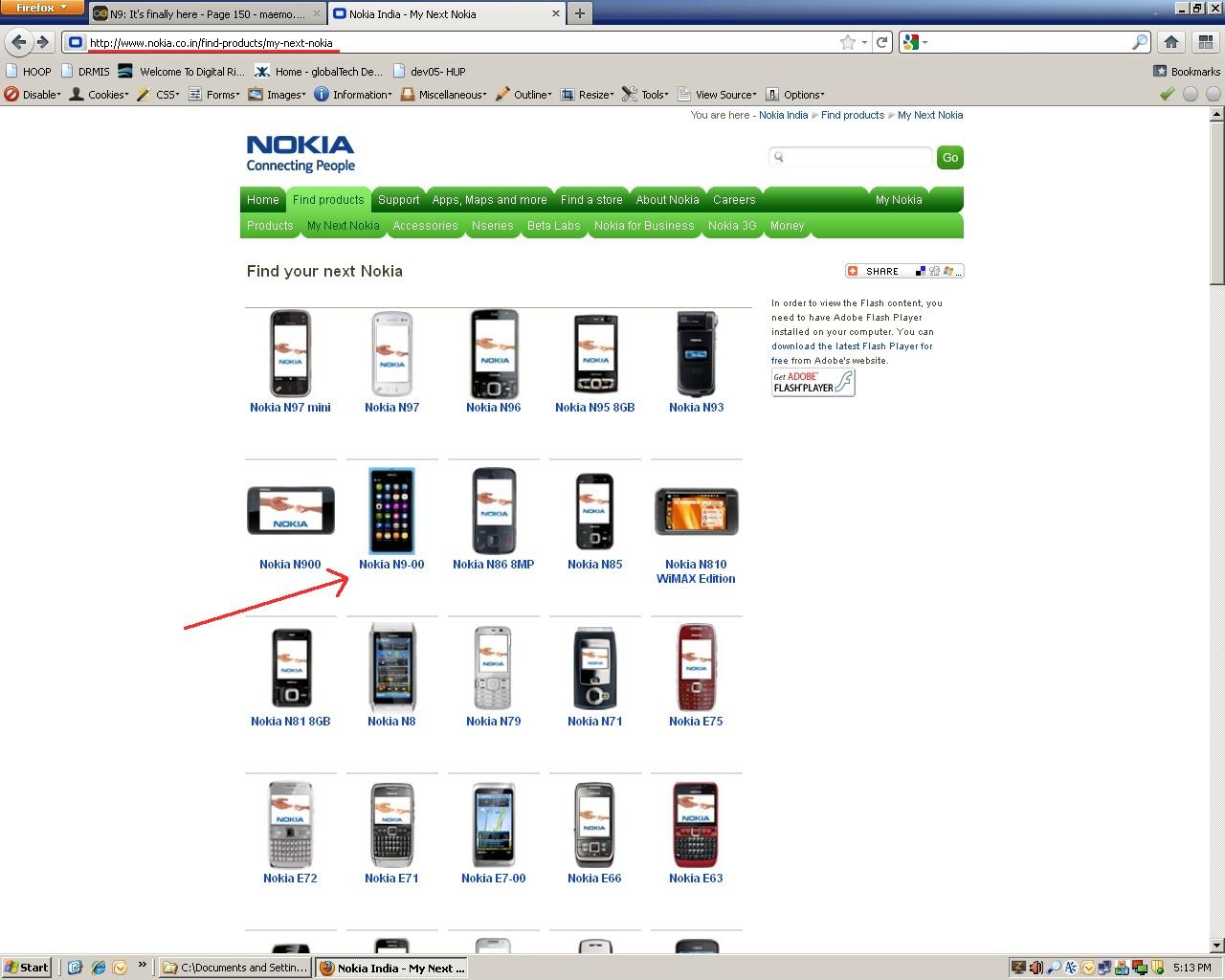 Nokia N9 on Nokia India site